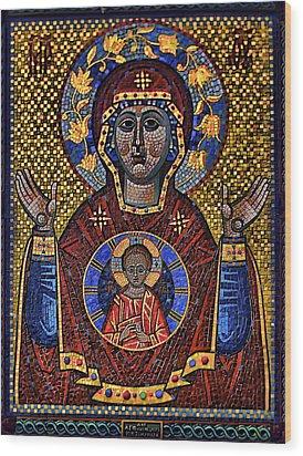Orthodox Icon Of The Mosaic Wood Print by Gennadiy Golovskoy