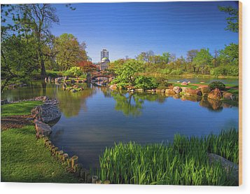 Osaka Garden Pond Wood Print