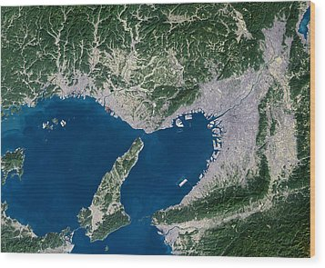 Osaka, Satellite Image Wood Print by Planetobserver