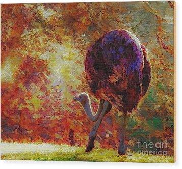 Ostrich II Wood Print by Arne Hansen