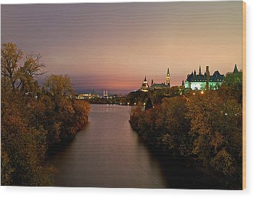 Ottawa At Night Wood Print