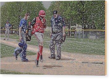 Ouch Baseball Foul Ball Digital Art Wood Print by Thomas Woolworth