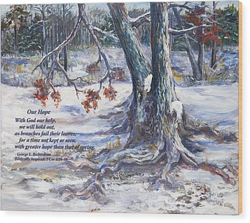 Wood Print featuring the painting Our Hope With Poem by George Richardson