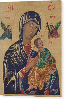 Our Mother Of Perpetual Help Wood Print by Camelia Apostol