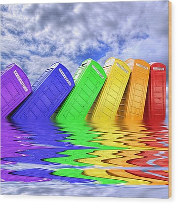 Out Of Order - A Rainbow - Kingston - Surrey Wood Print by Colin J Williams Photography
