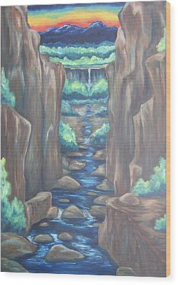 Wood Print featuring the painting Out Of The Canyon by Cheryl Pettigrew