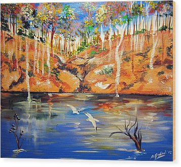 Wood Print featuring the painting Outback Billabong My Way by Roberto Gagliardi
