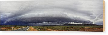 Outback Storm Panorama Wood Print