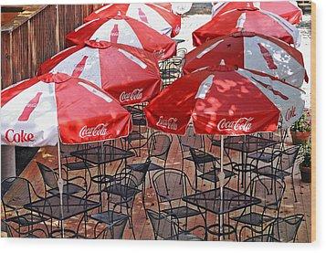 Outdoor Dining Wood Print by Susan Leggett