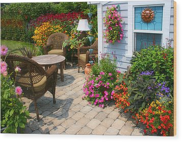 Outdoor Patio Wood Print by Cindy Haggerty