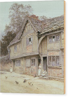 Outside A Timbered Cottage Wood Print by Helen Allingham