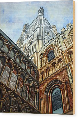 Outside Ely Cathedral Wood Print by Emmanuel Turner