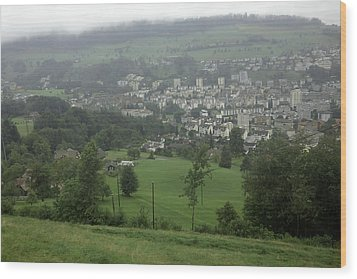 Ovehead View Of Houses From The Gondola Starting At Kriens In Switzerland Wood Print by Ashish Agarwal