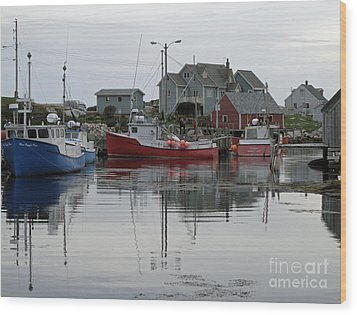 Overcast At Peggy's Cove  Wood Print by Louise Peardon