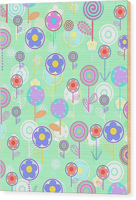 Overlayer Flowers  Wood Print by Louisa Knight
