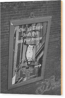 Owl And Thistle Irish Pub Wood Print by Kym Backland