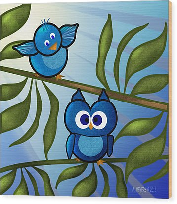 Owl Pal Wood Print by Melisa Meyers
