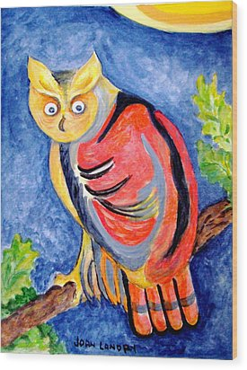 Owl With Attitude Wood Print by Joan Landry