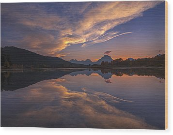 Ox Bow Bend Sunset Wood Print by Joseph Rossbach