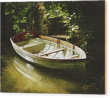 Oxford Boat And Dock Wood Print