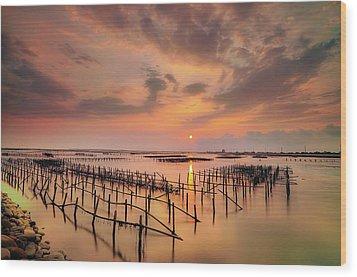Oyster Racks Wood Print by Taiwan Nans0410