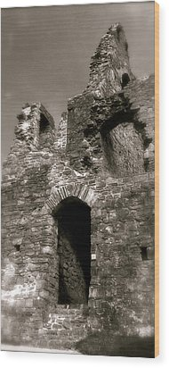 Oystermouth Castle Ruins Detail Wood Print by John Colley
