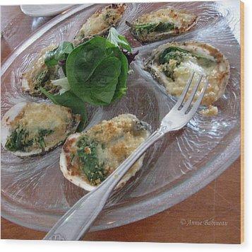 Oysters Rockefeller Wood Print by Anne Babineau