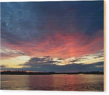 Ozello Sunset Wood Print by Judy Wanamaker