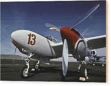 P-38 Lightning Lucky 13 Wood Print by Joe  Palermo