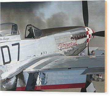 P-51 Worry Bird Wood Print