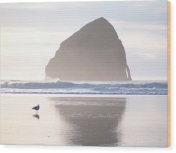 Pacific City Beach Reflected Wood Print