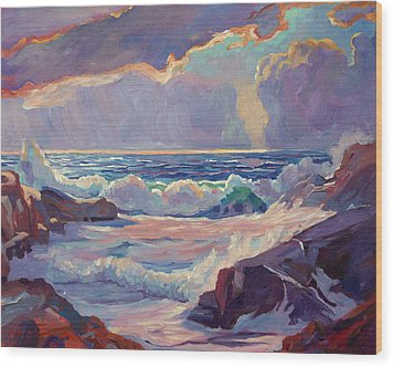 Pacific Grove Winds Wood Print by David Lloyd Glover