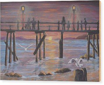 Pacific Ocean Moonlight Wood Print by Janna Columbus