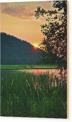 Wood Print featuring the photograph Pack River Delta Sunset 2 by Albert Seger