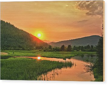 Wood Print featuring the photograph Pack River Delta Sunset by Albert Seger