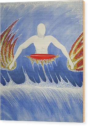 Wood Print featuring the painting Paddling by Paul Amaranto