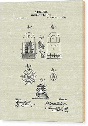Padlock 1876 Patent Art Wood Print by Prior Art Design