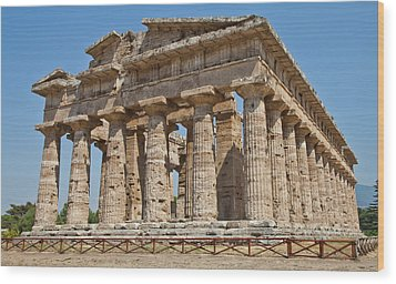 Paestum Temple Wood Print by Paolo Modena