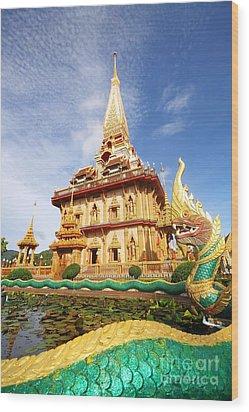 Pagoda In Wat Chalong Phuket  Wood Print by Anusorn Phuengprasert nachol