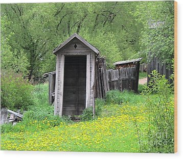 Pail Closet Virginia City Wood Print by Thomas Woolworth