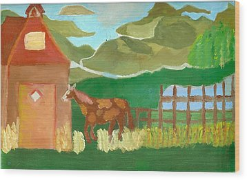 Paint Pony At Red Schoolhouse Wood Print by Shannon SmithCumiford