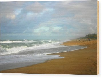 Painted Beach Wood Print by Cindy Haggerty