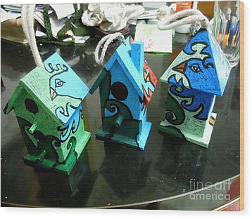Painted Birdhouses Wood Print by Genevieve Esson