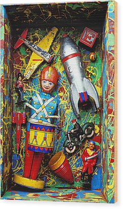 Painted Box Full Of Old Toys Wood Print by Garry Gay