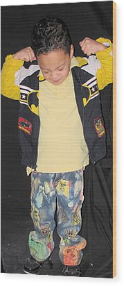 Painted Boys Jeans Wood Print by HollyWood Creation By linda zanini