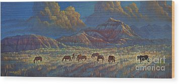 Wood Print featuring the painting Painted Desert Painted Horses by Rob Corsetti