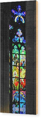 Painted Glass - Alfons Mucha  - St. Vitus Cathedral Prague Wood Print by Christine Till