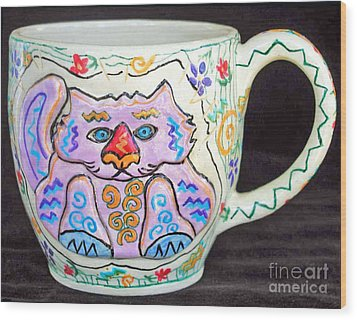 Painted Kitty Mug Wood Print by Joyce Jackson