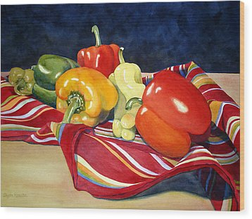 Painted Peppers Wood Print