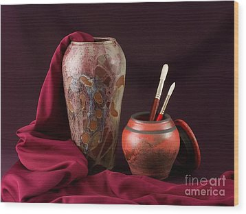 Painterly Pots Wood Print by Vilas Malankar